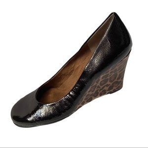 Aerosoles Brown Leather and Leopard Print Wedges 9